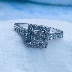 5/8 CT. T.W. Quad Princess-Cut Diamond Bridal Set